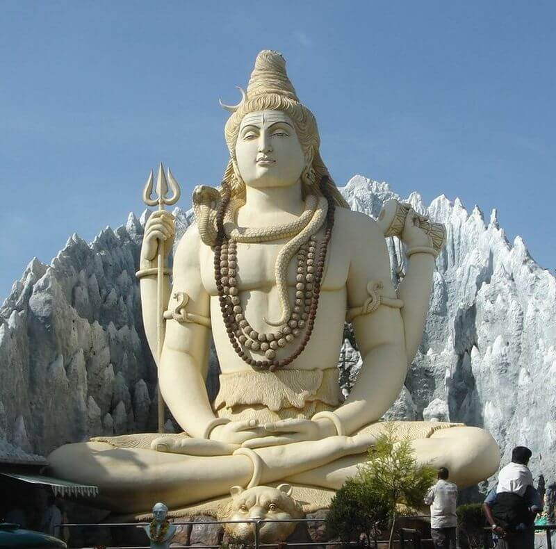 Statue of Lord Shiva performing yogic meditation in lotus position